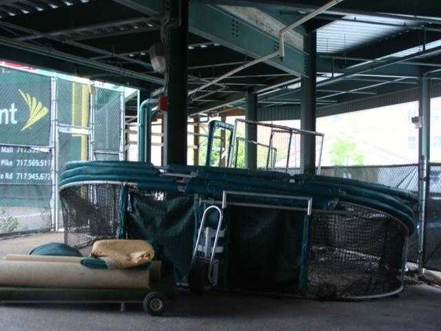 The batting equipment used on the field is also stored in the tunnel.