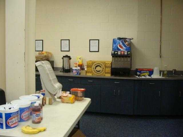 The Clubhouse has a kitchen for the players to keep snacks and beverages.