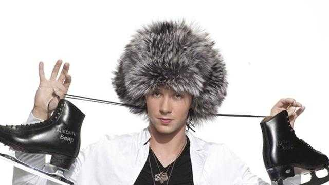 Johnny Weir with furry hat, skates PIC - 21532684