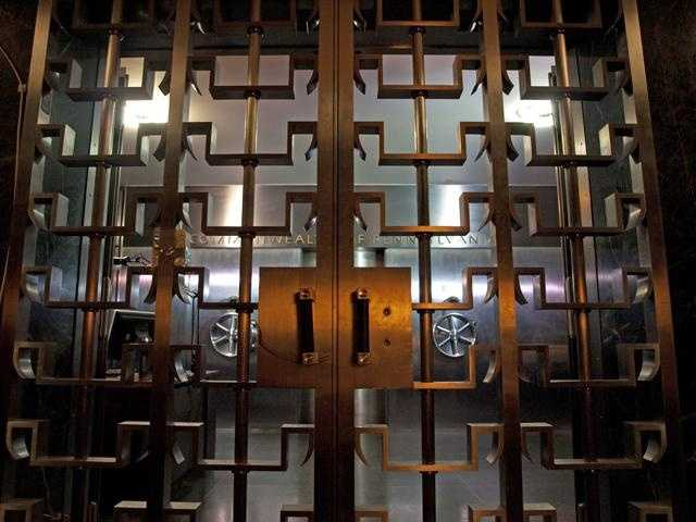 This is looking through the first locked door to the vault.