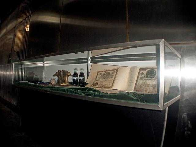 A display case in the vault. These are items that have not been claimed.