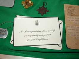 A thank you card from Jackie Kennedy. It is responding to a sympathy card send to her when President Kennedy was assassinated.