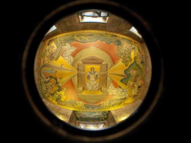 This is a fish-eye lens view of a mural painted on the ceiling outside the vault.