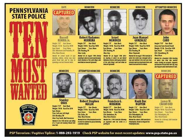 Again, if you know the whereabouts of any of these men who are still on the loose, call the PSP Terrorism/Fugitive Tip Line at 1-888-292-1919.Again, if you know the whereabouts of any of these men who are still on the loose, call the PSP Terrorism/Fugitive Tip Line at 1-888-292-1919.