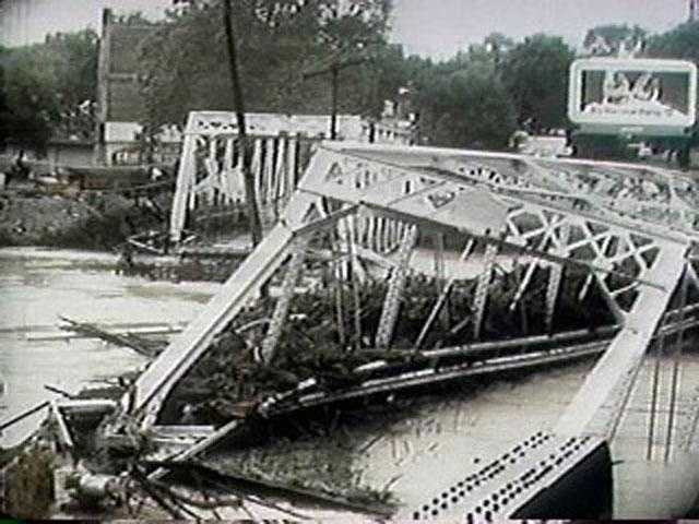 Agnes tore half of this iron span bridge from its foundation and slammed it into a nearby railroad on the Conestoga.