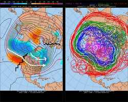 THURSDAY, Dec. 15: But by the middle of the following week, the models indicate that the cold air will move out and we'll get back into a pacific flow of chilly, but not extremely cold air. Notice that the ridge shifts east and back over Europe. Even though there is ridging in the west the cold shots keep moving along with no ridge in the Atlantic to block it and hold it into the Northeast. Stay tuned and we'll see if that changes, but I don't see any sign of it.