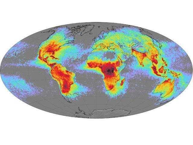 Worldwide lightning patterns.