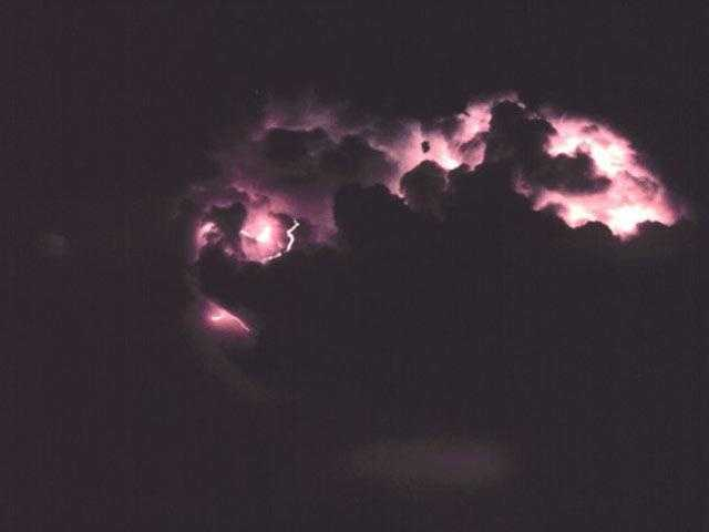 Lightning doesn't just travel from a cloud to the ground. It can also go from one cloud to another, or from the ground to a cloud or from a cloud to the surrounding air. Cloud to air lightning can be especially impressive since these bolts can lash out more than ten miles from a storm. This would give an observer the unsettling impression that lighting was striking out of the clear blue sky.