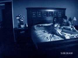 "4. ""Paranormal Activity"": What makes this scary is that it doesn't actually show you the gore and violence. It leaves that up to the viewer's imagination and sometimes, that's more terrifying than everything else."