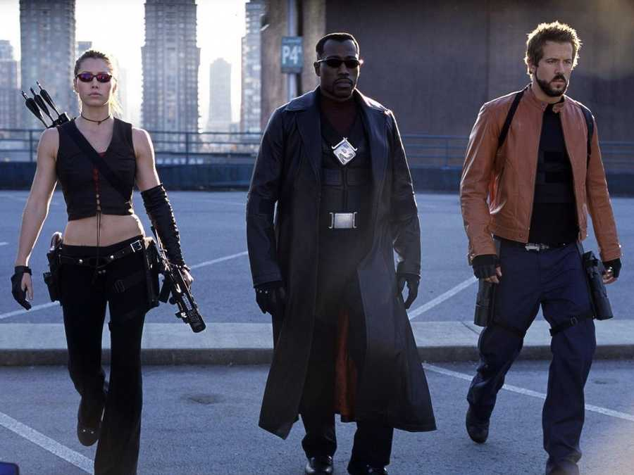 "Blade: Actor Wesley Snipes took on the role of Blade, a superhero vampire hunter, in the movie trilogy. Created by writer Marv Wolfman, Blade first appeared in the comic book ""The Tomb of Dracula"" #10 in 1973 as a supporting character before getting his first solo story in Marvel's black and white horror comics magazine ""Vampire Tales"" in 1974."