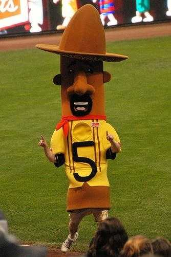 #5 - The Chorizo:The Chorizo came to Milwaukee after many years of paying his dues training and racing throughout Central America and overseas. Chorizo was a long time admirer of the sausage races at County Stadium and Miller Park, and was thrilled when he was called up to the Major Leagues in 2006 at the inaugural Cerveceros Day. He was extremely excited for his first Sausage Race, but adrenaline got the best of him, as he fired off to a quick start and tired by the end of the race, coming in third. While he didn't win, he showed a lot of promise, and was sent back to the Mexican League for further seasoning, returning for good in the 2007 season.
