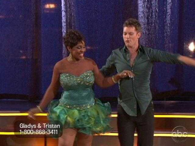 Gladys Knight and Tristan hit the floor with a Samba.  She looked a bit lost during the dance.
