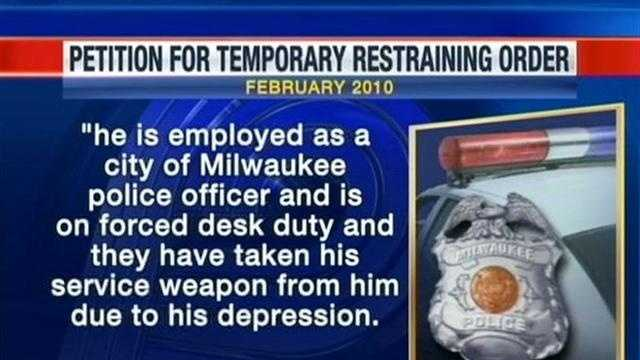 WISN 12 News has learned that the officer at the center of a traffic stop that resulted in use of force had two restraining orders filed against him and once had his service weapon taken from him due to depression.