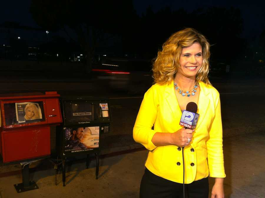 Stephanie Sutton does her live shot for 12 News across the street from where DWTS is taped.