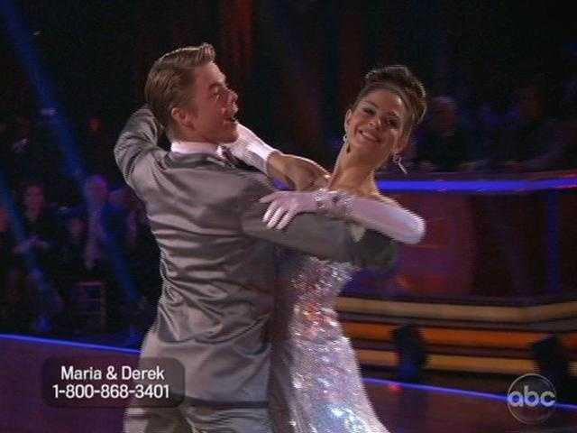 "Maria Menounos and Derek Hough danced a Foxtrot to Martha Reeves' 1970 hit ""Jimmy Mack."""