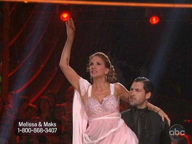 Melissa Gilbert and Maksim Chmerkovskiy danced the Argentine Tango.  Practice was complicated this week as Maks has a cyst in his foot.