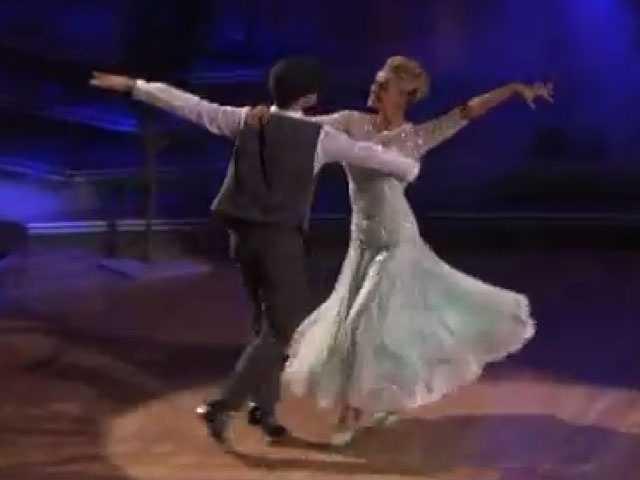 Katherine Jenkins and partner Mark Ballas danced the Viennese Waltz.