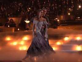 Maria Menounos and partner Derek Hough danced a Viennese Waltz.