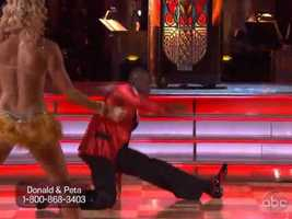 In the latin trio dance-off, Donald Driver was paired with his partner Peta as well as dancer Karina Smirnoff.