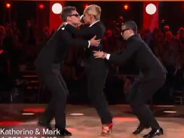 Katherine Jenkins danced her trio with Derek Hough and Tristan MacManus.