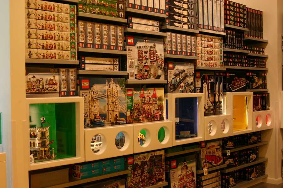 An entire wall features sets that are only available in Lego retail stores.