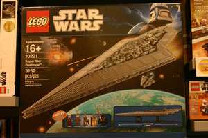 Three of the most popular sets (Super Star Destroyer, R2-D2 and Death Star) are available for purchase and are on display.