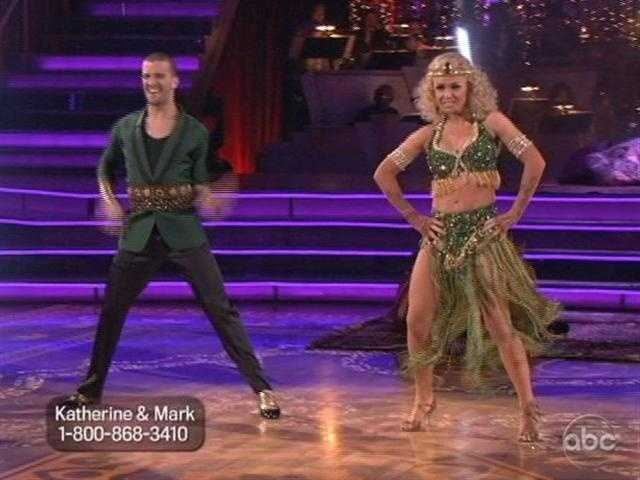 Katherine and Mark kept up the energy with their Salsa. Once she was nervous about shaking her bum. Tonight she bared her midriff.