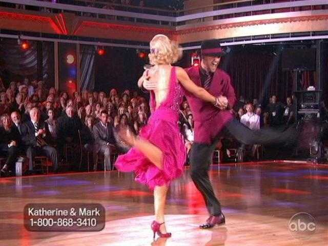 Katherine Jenkins and Mark Ballas were up second with their Quick Step.