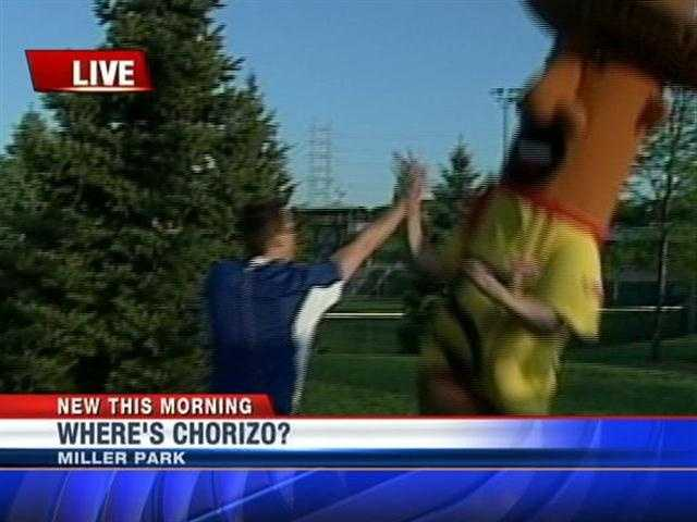 "Chorizo was so happy to be ""found"" he was giving WISN 12 meteorologist Jeremy Nelson a high-five'."