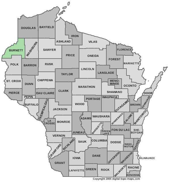 Burnett County:- Population: 15,749. Median age: 48.4 years