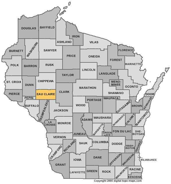 Eau Claire County: Population: 97,381. Median age: 33.1 years