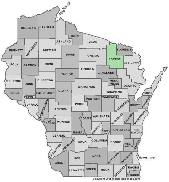 Forest County: Population: 9,534 Median age: 43.4 years