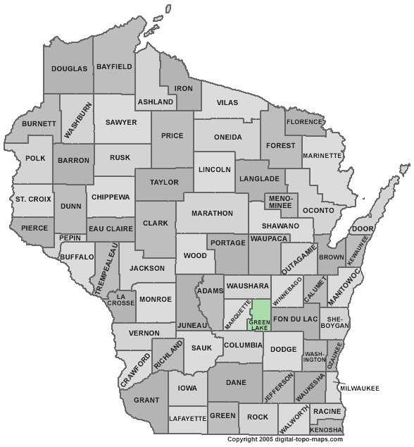 Green Lake County: Population: 19,107. Median age: 43.6 years