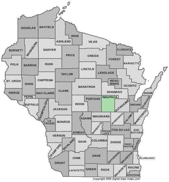 Waupaca County: Population: 52,533. Median age: 42.6 years