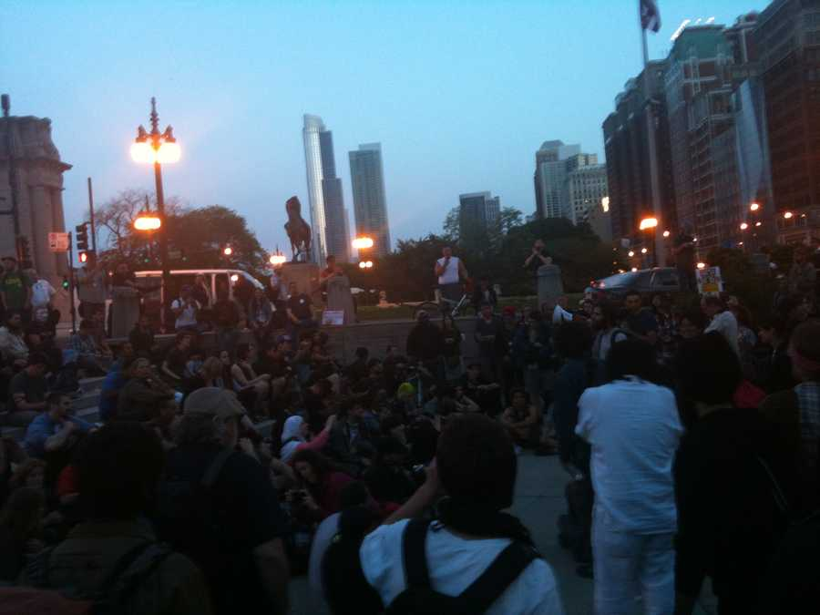 Friday night protesters in Chicago