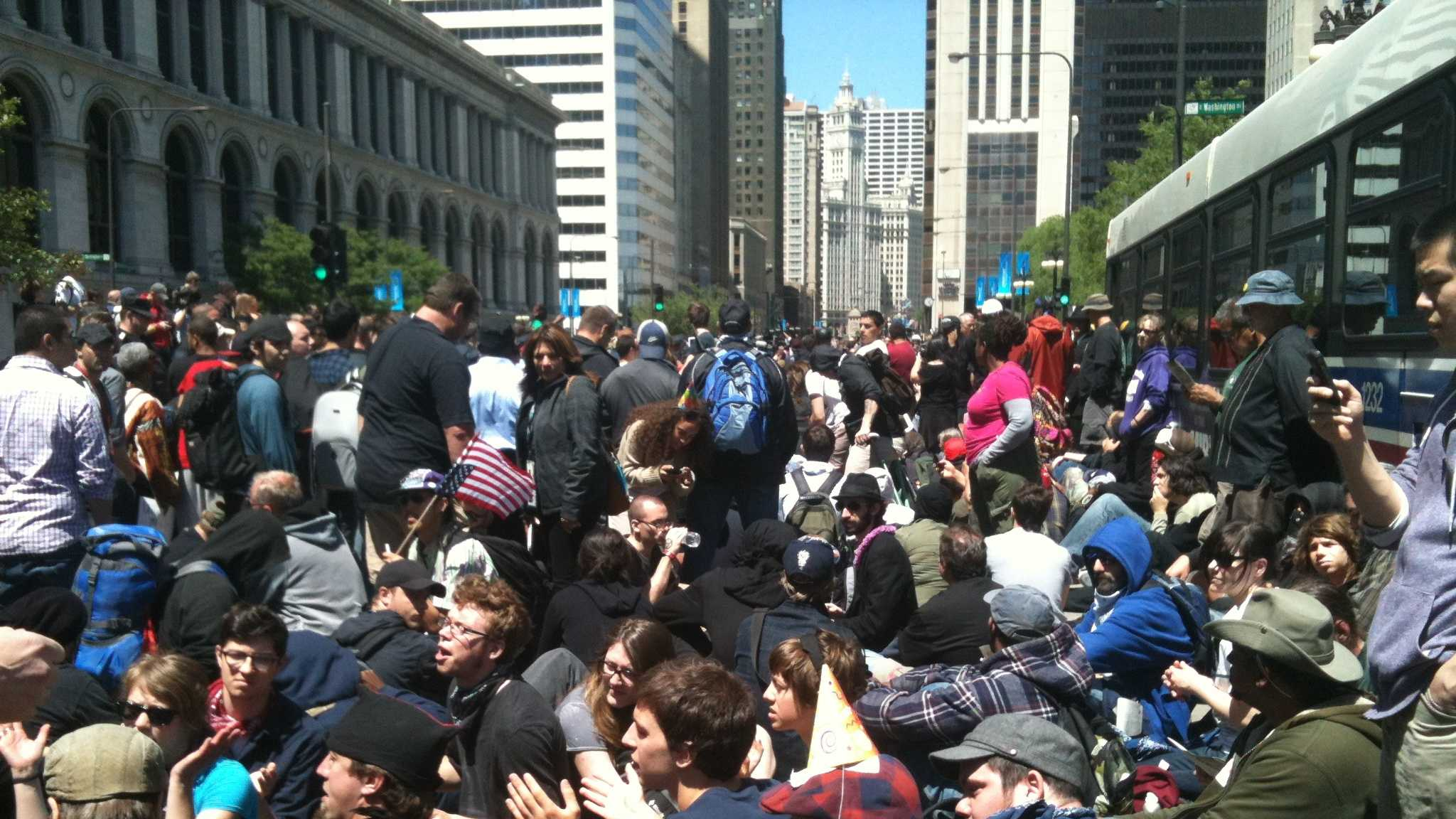 Hundreds of NATO protesters are marching through the streets of downtown Chicago.