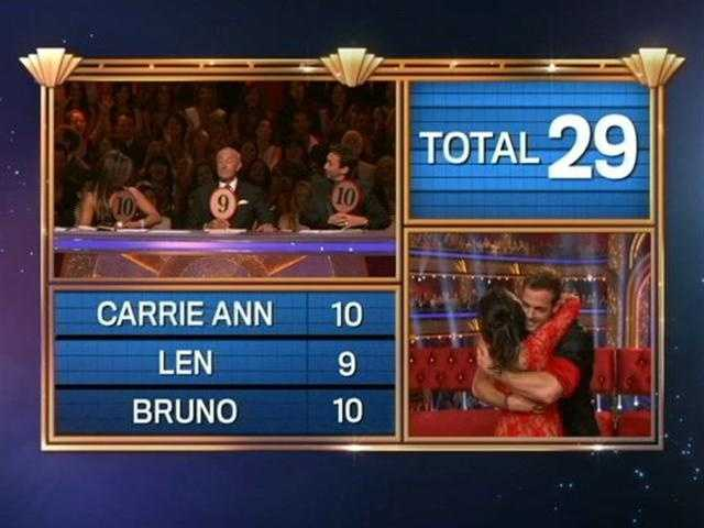 William and Cheryl ended the first night with a total score of 59.