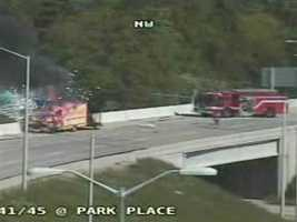 A box truck caught fire on the southbound Highway 41/45 offramp to southbound Highway 145 Monday morning.