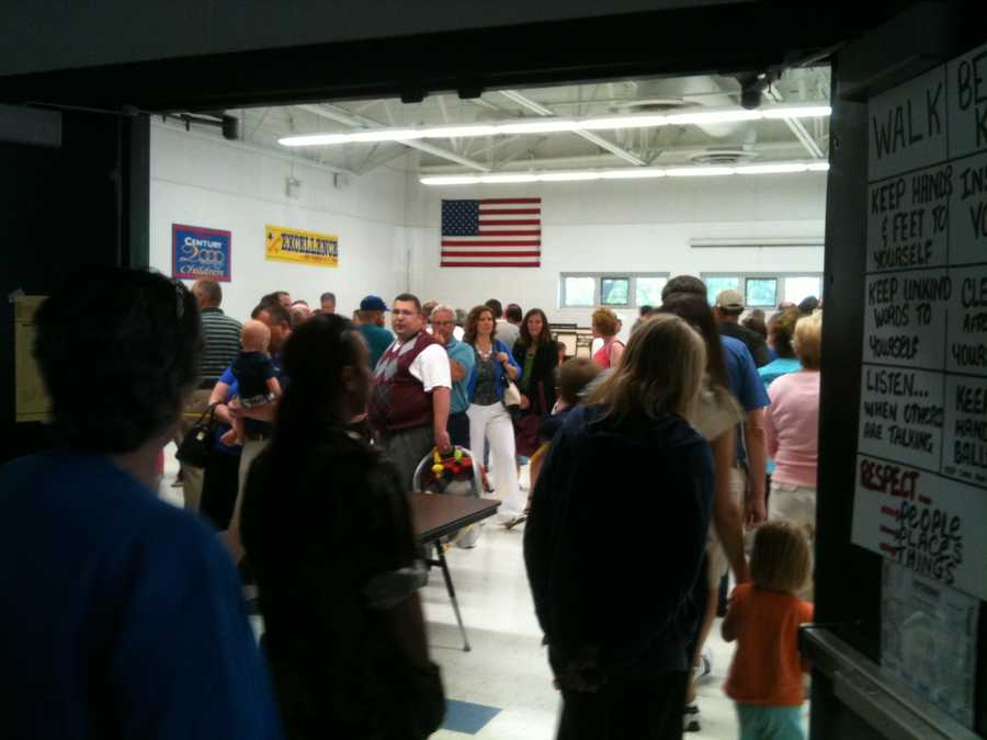 The wait was about 45 minutes when this Oconomowoc polling place opened.