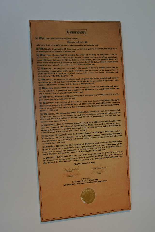 Original 1968 proclamation from the city of Milwaukee