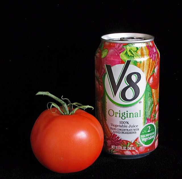 The eight vegetables in V8 are: tomato, spinach, celery, carrot, beet., lettuce, watercress and parsley.