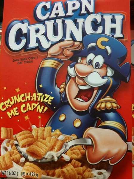 Cap'n Crunch's full name is Captain Horatio Magellan Crunch.