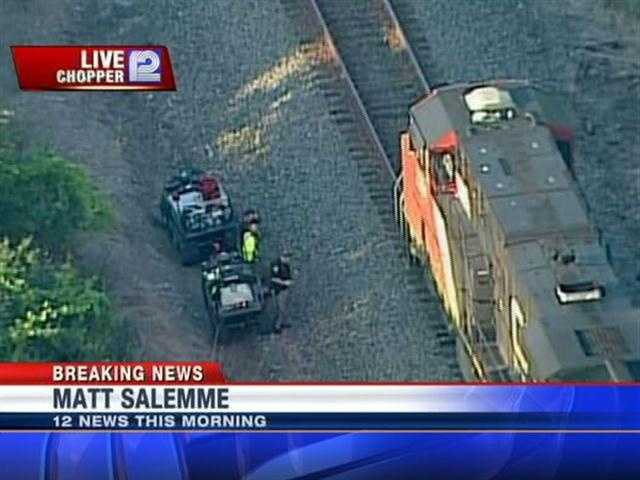 The accident took place north of the railroad crossing.