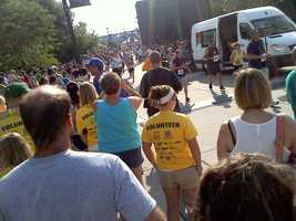 Crowds at the finish line