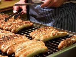 Bratwurst at Sheboygan Brat House and Leadfoot's Bar & Grill