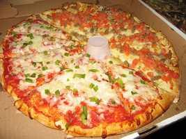 Deep fried pizza (with marinara dipping sauce!) at Brew City