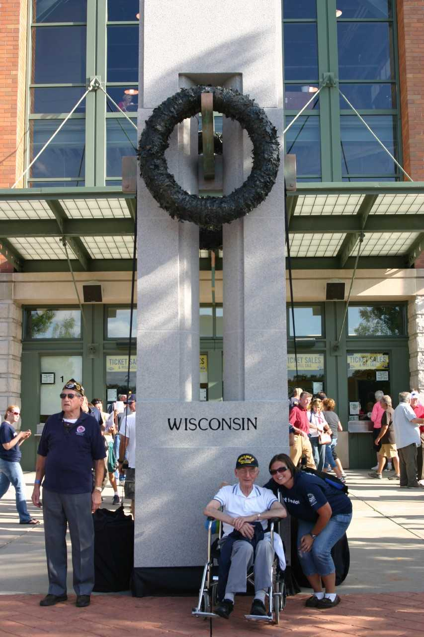 A replica of the Wisconsin pillar from the WWII Memorial was on display outside Miller Park.