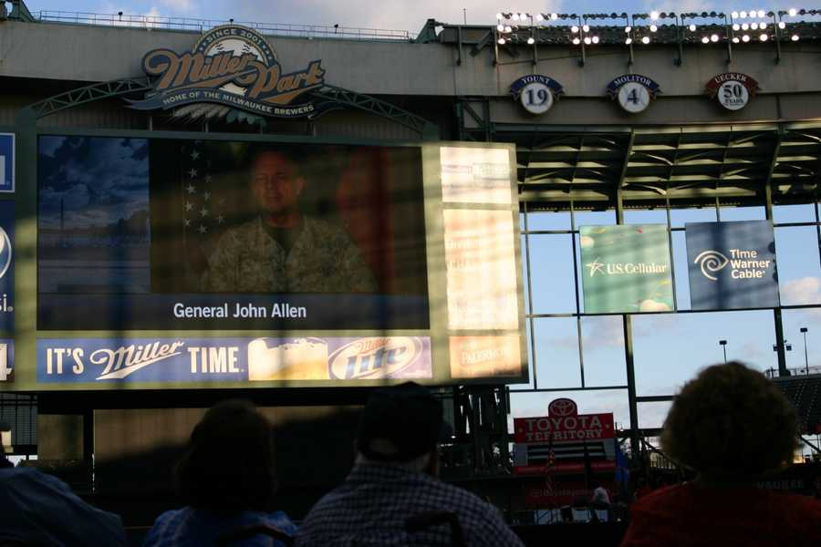 Video taped message from General John Allen was played for the crowd.