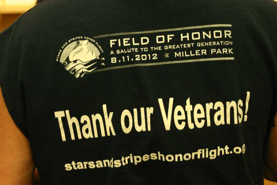 """Stars and Stripes Honor Flight hosted """"Field of Honor: A Salute to the Greatest Generation"""" at Miller Park on August 11, 2012."""