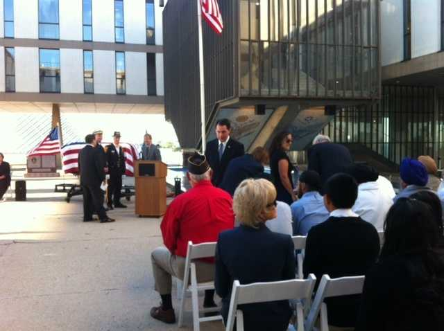 Milwaukee held two Sept. 11 remembrance ceremonies on Tuesday: The city and county held a joint service at the War Memorial, and the Milwaukee Fire Dept. held a ceremony at the MFD headquarters.